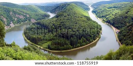 of a river Saar with Saarschleife by city Orscholz, Saarland / Germany ...