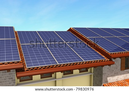 view of a roof covered with solar panels (3d render) - stock photo