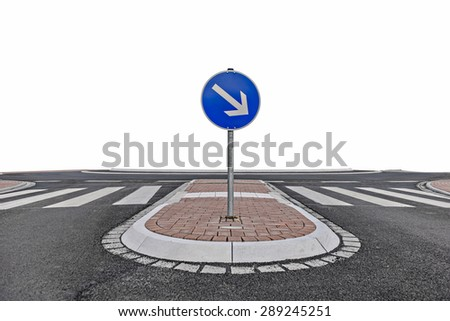 View of a Roundabout on a Road with traffic island, isolated on white - stock photo