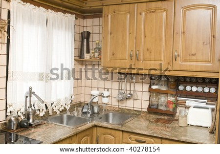 view of a rural or rustic kitchen - stock photo
