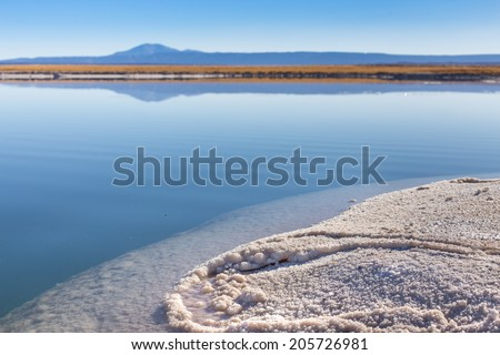 View of a salt lake near San pedro de Atacama with salt in the foreground, Atacama Desert, Chile