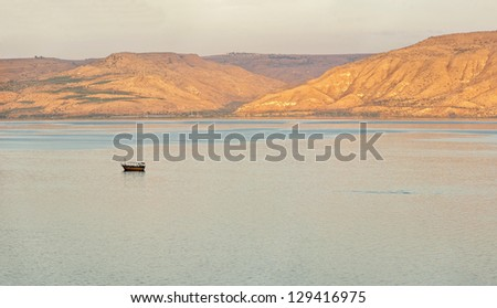 View of A Sea of Galilee, Israel - stock photo