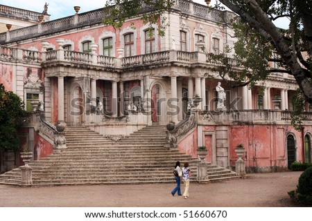 View of a section of the beautiful Queluz Palace located on Lisbon, Portugal - stock photo