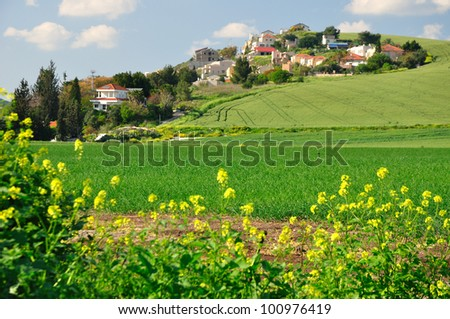 View of a settlement built on the hill. Northern Israel. - stock photo