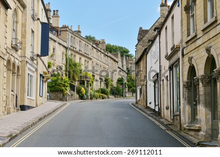 View of a Shopping Street in an English Town - stock photo