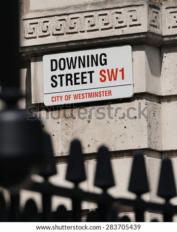 View of a Sign on Downing Street in London England - stock photo
