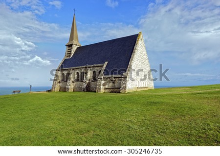 View of a small chapel, Chapelle Notre Dame de la Garde, on the Alabaster Coast at Etretat in Normandy, France