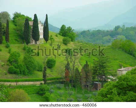 View of a so called villa in northern Italy - stock photo