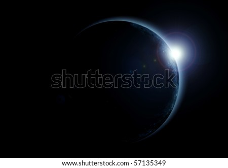 view of a solar eclipse - stock photo
