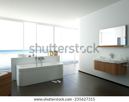 View of a spacious and elegant bathroom. 3d rendering - stock photo