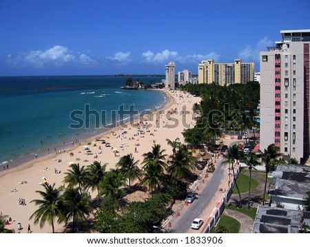 View of a sunny day in Isla Verde Beach, San Juan, Puerto Rico - stock photo
