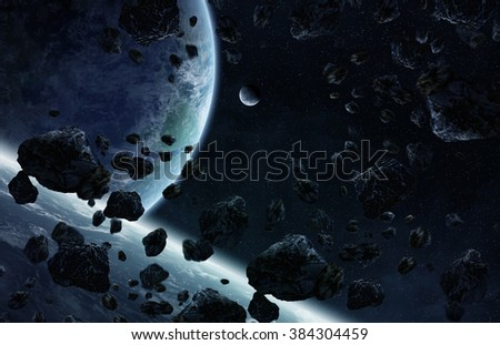 View of a sunrise on a distant planet system in space 'elements of this image furnished by NASA - stock photo