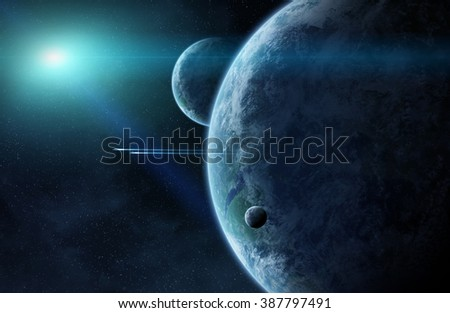 View of a sunrise on a distant planet system in space 'elements of this image furnished by NASA'