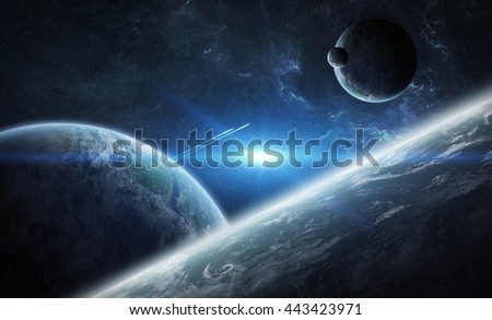 View of a sunrise on a distant planet system in space 'elements of this image furnished by NASA' '3D rendering' - stock photo