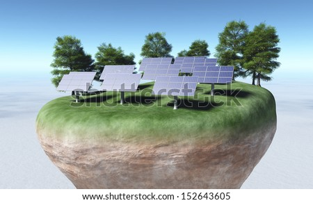 view of a top portion of a rocky and circular terrain that has rows of solar panels fixed on a grassy ground and some trees behind them, all on a background desert and a blue sky - stock photo