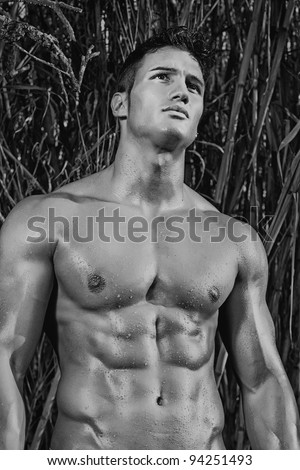 View of a very fit male model with muscles on the countryside. - stock photo