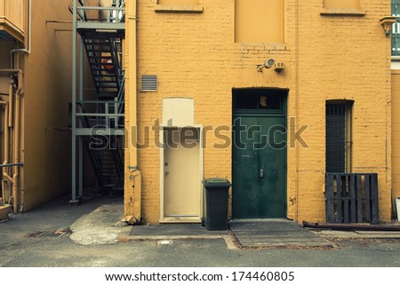 View of a wall in an alley - stock photo