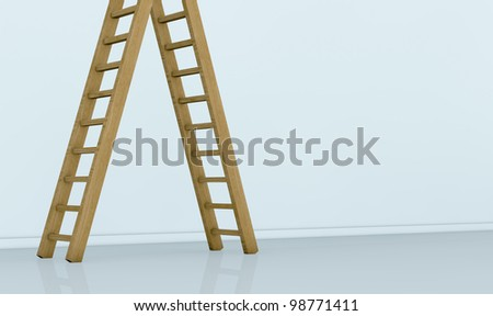view of a wall with one ladder on the left. the top end of the ladder is not visible. the right part of the wall is empty for custom text  or images(3d render)
