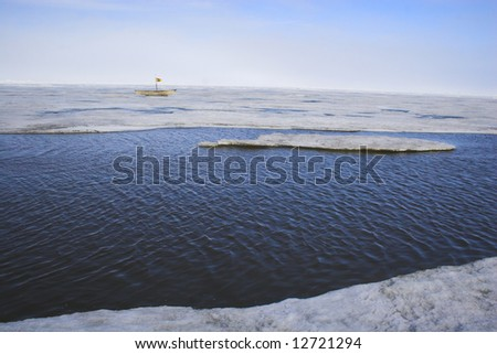 View of a whaling boat in the Arctic Ocean - stock photo
