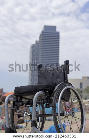 view of a wheel chair in Barcelona - stock photo