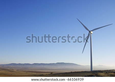 view of a windmill for renewable electric energy production - stock photo