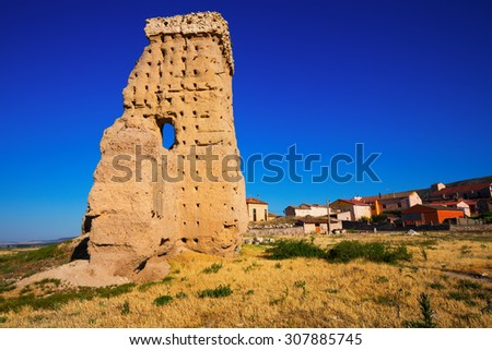 View of  abandoned castle of Palenzuela.   Spain - stock photo