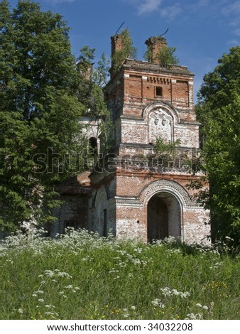 View of abandoned church in Novofetinino village, Russia