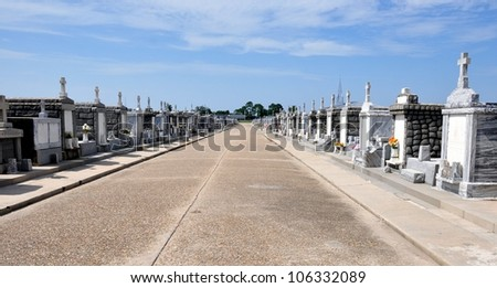 View Of Above Ground Graves In Greenwood Cemetery, New Orleans, Louisiana - stock photo