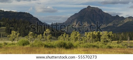 View of Absaroka range from Soda Butte Creek, Yellowstone NP - stock photo