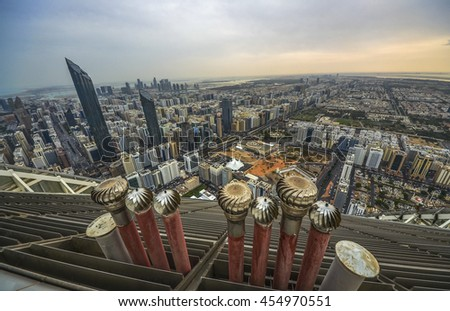 View of Abu Dhabi city, United Arab Emirates by day, view from the roof - stock photo