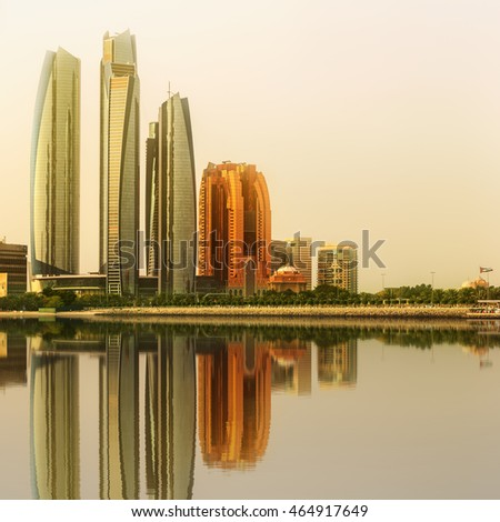 View of Abu Dhabi Skyline and Al Bateen marina at sunset, United Arab Emirates