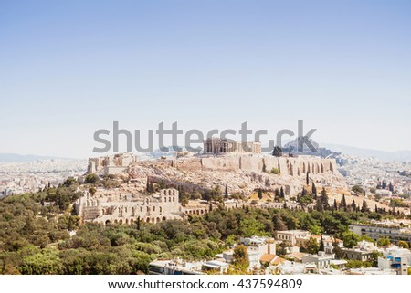 View of Acropolis and the city of Athens, Greece - stock photo