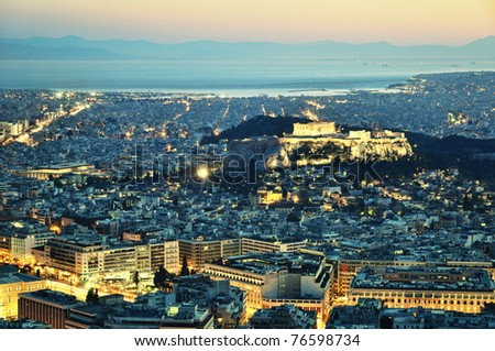 View of Acropolis from Lykavittos hill - stock photo