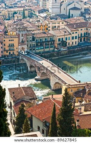 View of Adige river and St Peter bridge, Verona, Italy. - stock photo