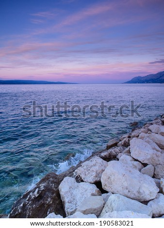 View of Adriatic Sea in Baska Voda