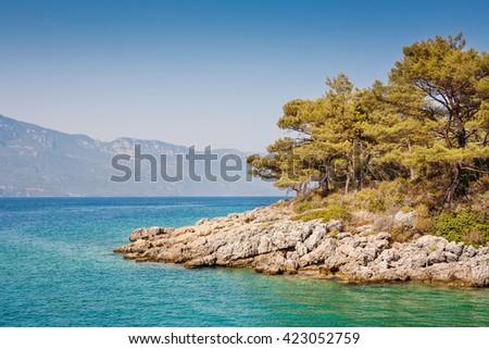 View of Aegean Sea. Turkey - stock photo