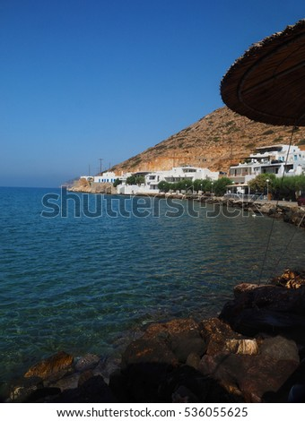 view of Agia Marina and Spilia beach in port of Kamares Sifnos Greek Island in Cyclades Greece