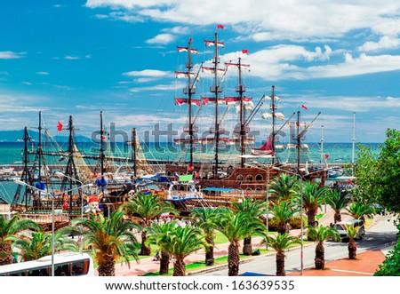 View of Alanya Cruise Port, Turkey - stock photo