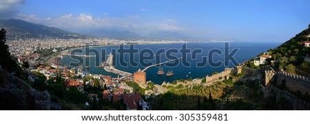 View of Alanya harbor, Turkey - stock photo