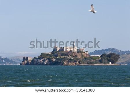 View of Alcartaz Island, San Francisco - stock photo