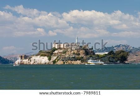 View of Alcatraz from San Francisco - stock photo