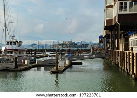 View of Alcatraz Island from the Pier 39 in San Francisco, California, U.S.A. - stock photo