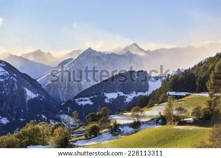 View of alp autumn landscape - stock photo