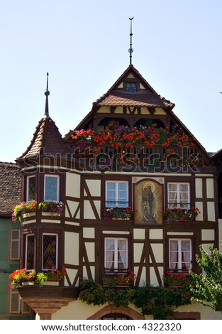 View of Alsace typical traditional house (Riquewihr, France) - stock photo