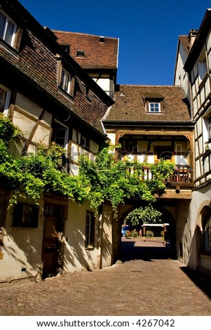 View of Alsace typical traditional street (Colmar, France)