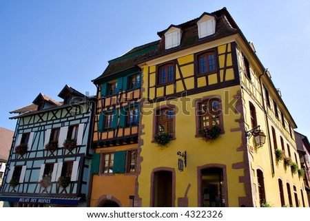 View of Alsace typical traditional street (Riquewihr, France) - stock photo