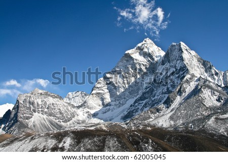 View of Ama Dablam mountain, Khumbu glacier, Nepal