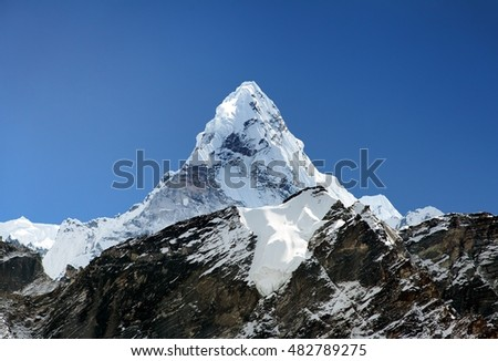 View of Ama Dablam on the way to Everest Base Campb with blue sky, Sagarmatha national park, Khumbu valley, Nepal