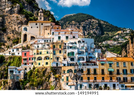 View of Amalfi. Amalfi is a charming, peaceful resort town on the scenic Amalfi Coast of Italy. - stock photo