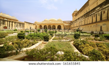 View of Amber Fort gardens in Jaipur India - stock photo
